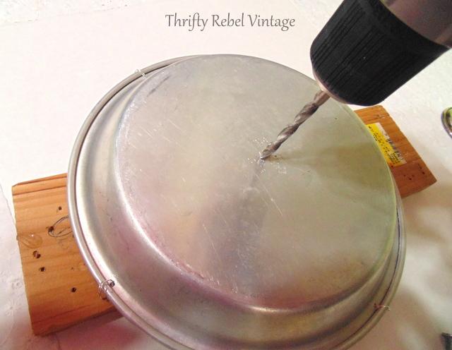 repurposed sieve birdfeeder