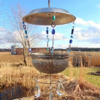 Repurposed Vintage Sieve Bird Feeder