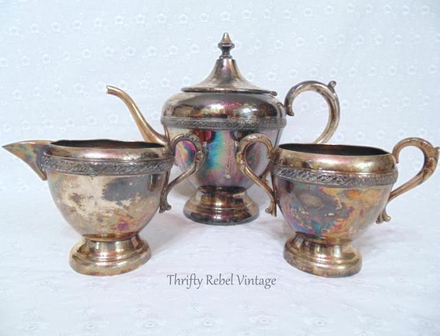 vintage victorian plate silver teapot creamer and sugar bowl set