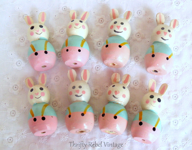 hand painted wooden bunnies