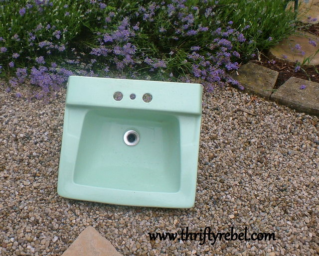 vintage green porcelain sink