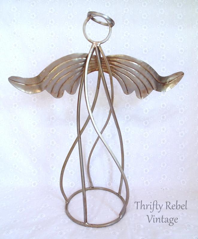 vintage metal angel sculpture