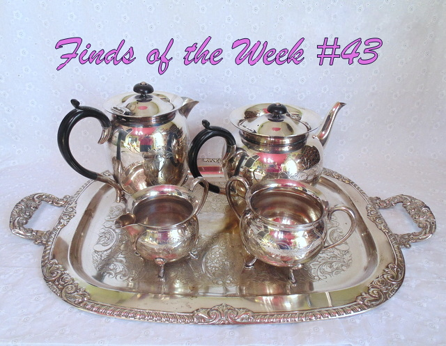 Civic silver plate tea pot coffee pot creamer and sugar on tray se