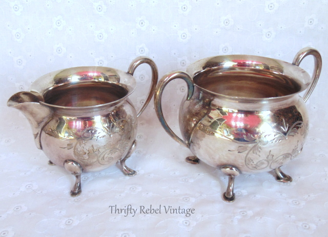 Civic silver plate creamer and sugar bowl