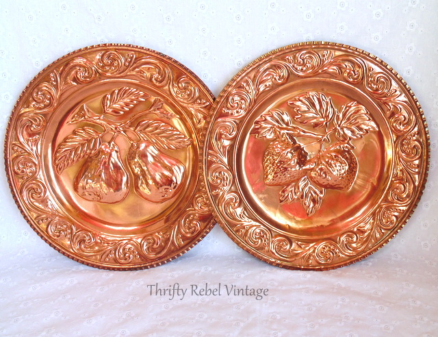 vintage copper pears and strawberries wall plates