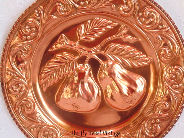 vintage pears copper wall plate