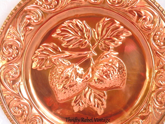 vintage strawberries fruit copper wall plate