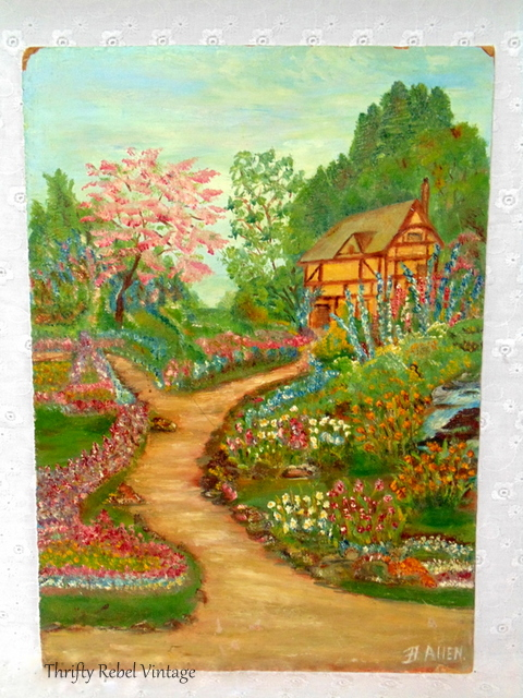 cottage garden with flower lined pathway oil painting / thriftyrebelvintage.com