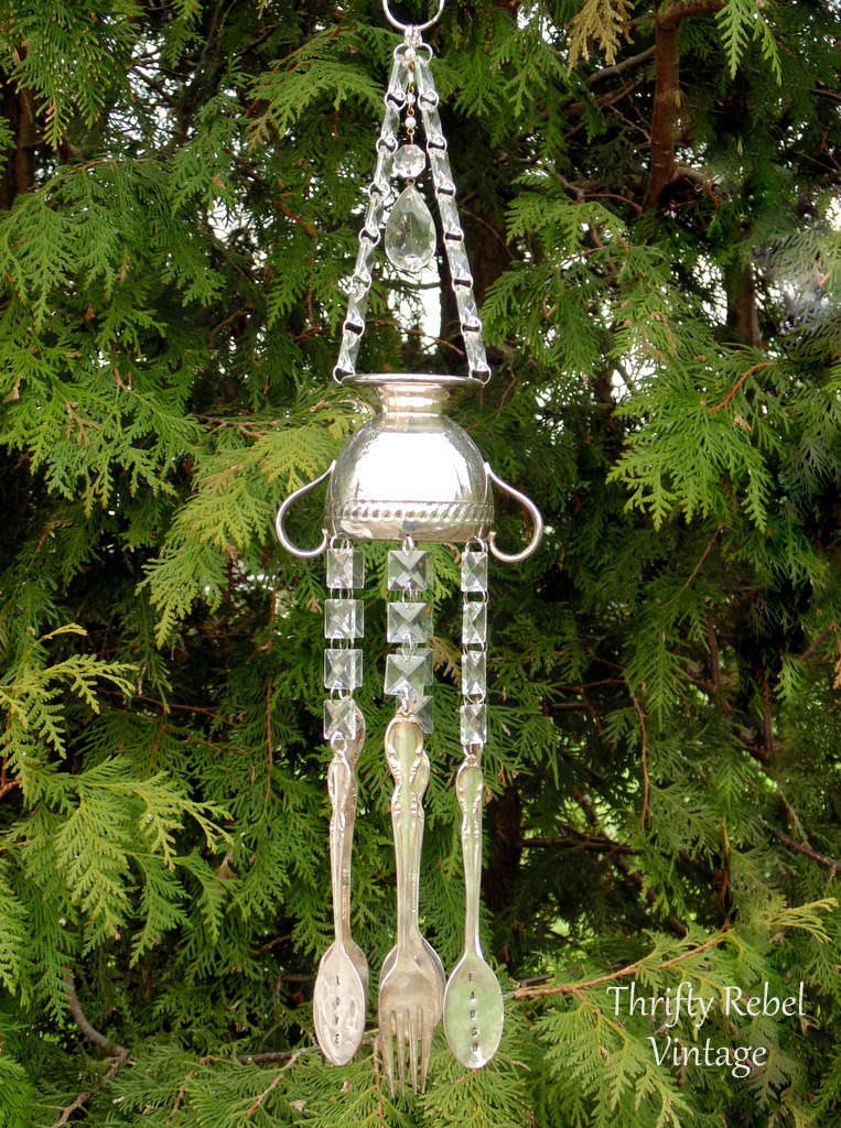 vintage silver sugar bowl and hand stamped silverware wind chimes with glass chandelier crystals / thriftyrebelvintage.com