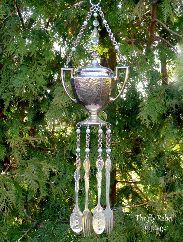 vintage silver sugar bowl and hand stamped silverware wind chime / thriftyrebelvintage.com