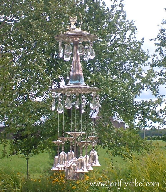 vintage silver goblet and chandelier crystal wind chime