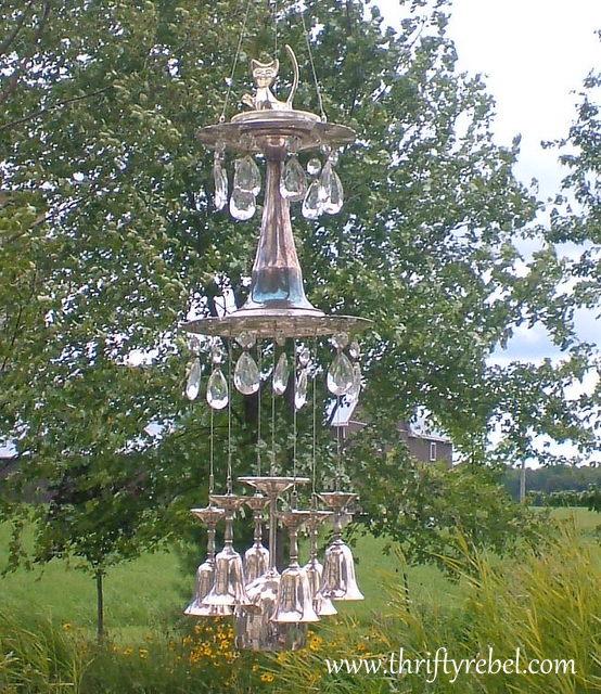 vintage silver goblet and chandelier crystal wind chime