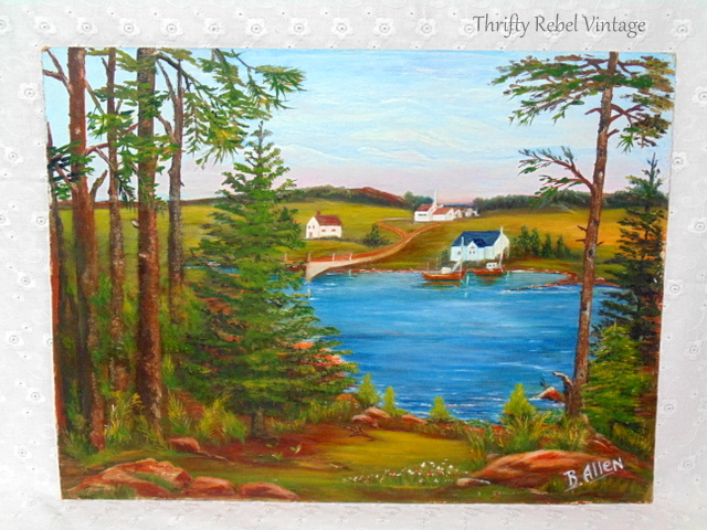 vintage country scene with lake and lovely village oil painting / thriftyrebelvintage.com