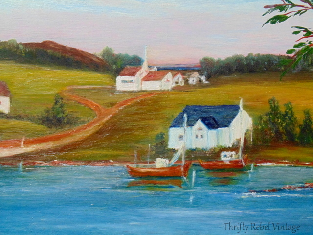 vintage country scene with lake and lovely village oil painting