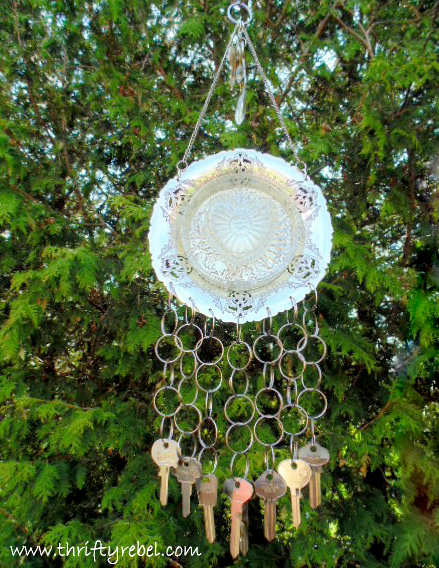 vintage silver tray and keys wind chimes