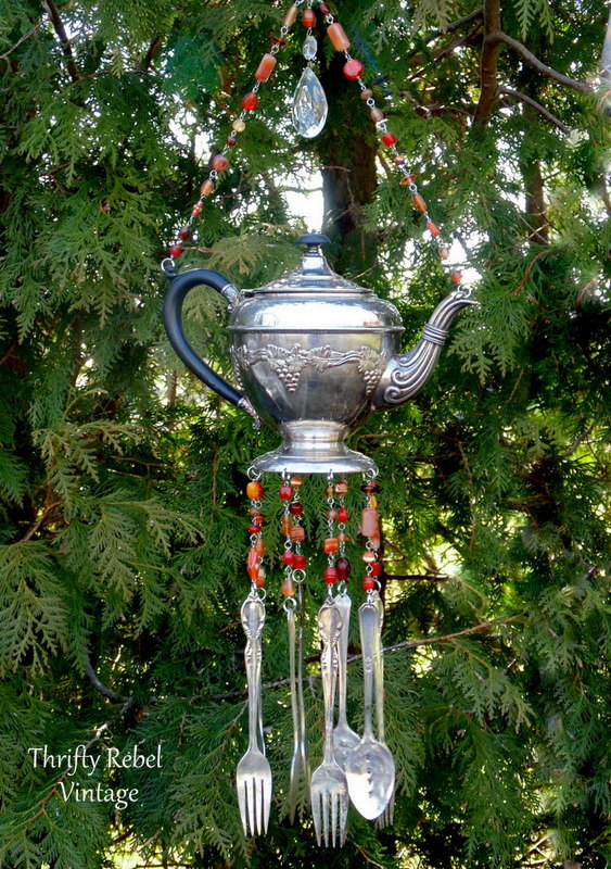 vintage silver teapot and hand stamped silverware wind chime with orange beaded necklace / thriftyrebelvintage.com