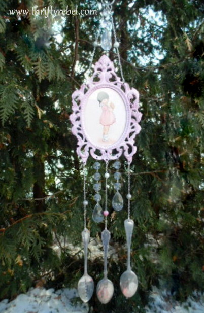 picture frame and hand stamped silverware wind chime