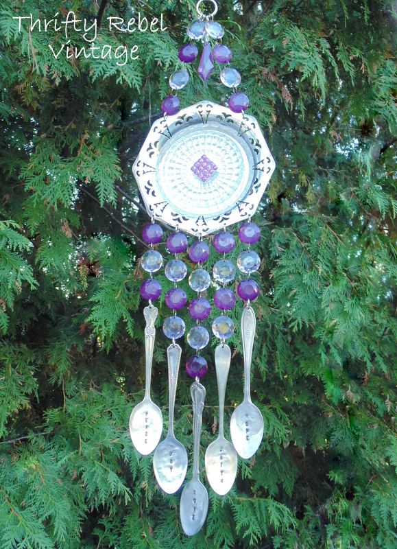 purple chandelier crystal and hand stamped silverware wind chime