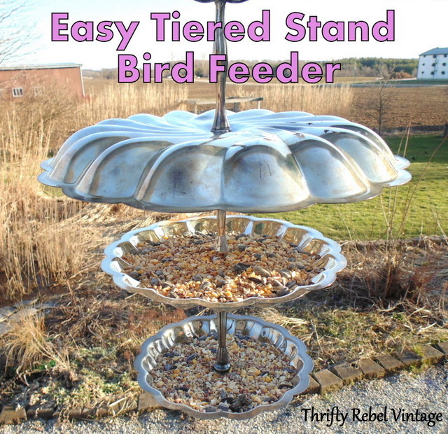 repurposed metal tiered stand into triple decker hanging bird feeder