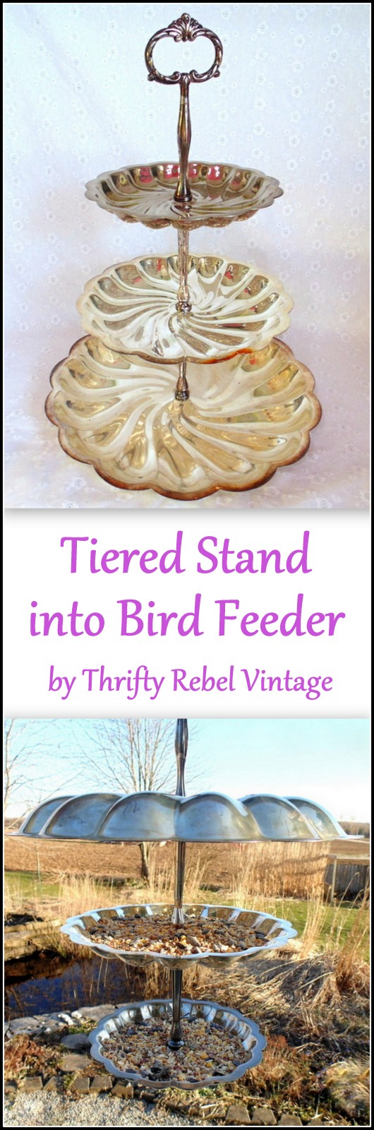 repurposed metal tiered stand into triple decker hanging bird feeder before and after