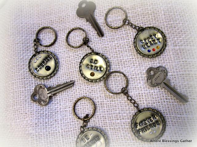 vintage bottle cap key chains