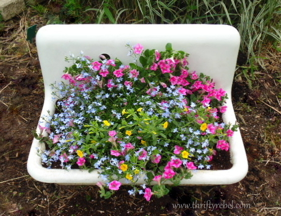 vintage white porcelain farmhouse sink repurposed as planter