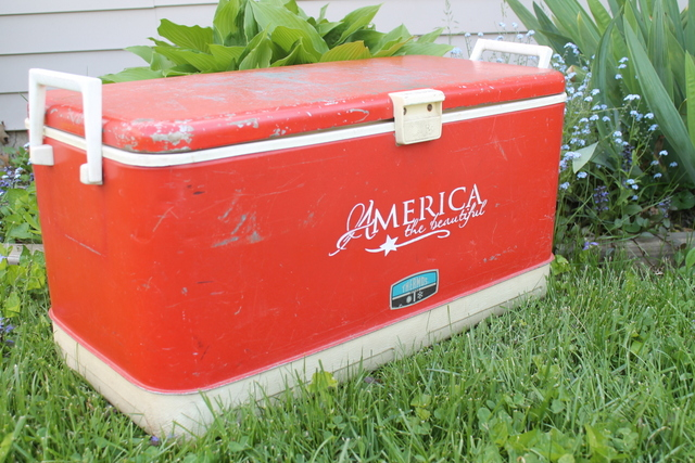 Vintage Red Cooler Makeover