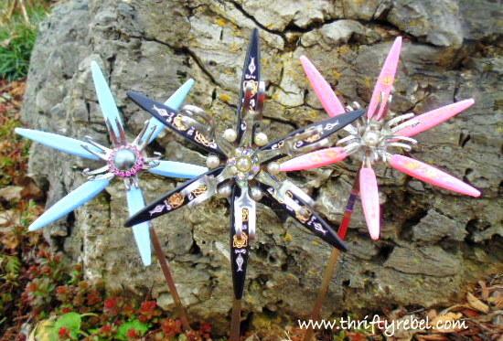 Repurposed Vintage Cocktail Fork Flowers