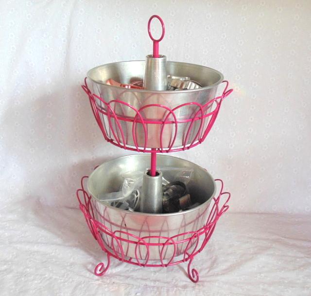 bundt pan storage in vintage tiered stand makeover / thriftyrebelvintage.com
