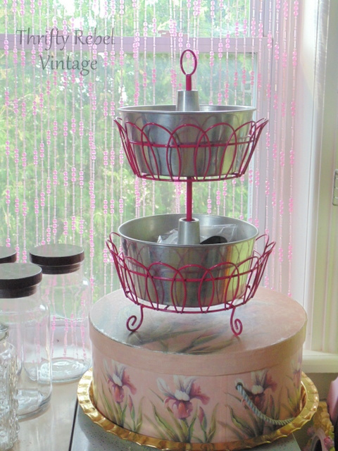 repurposed bundt cake pans tiered stand