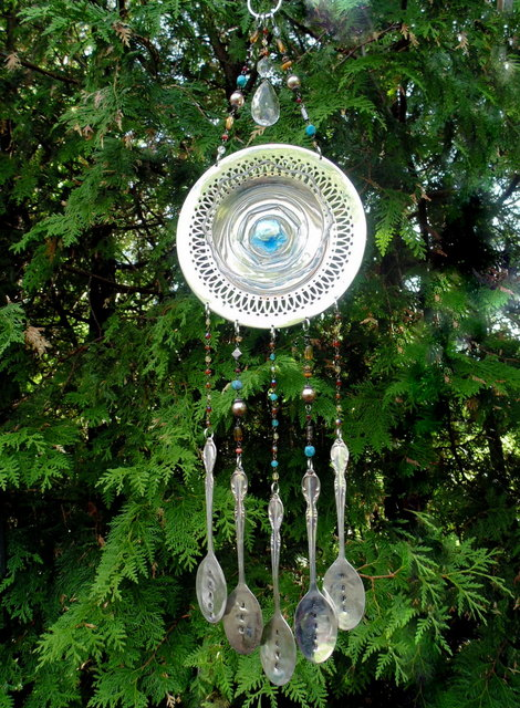 garden plate flower and silverware wind chime