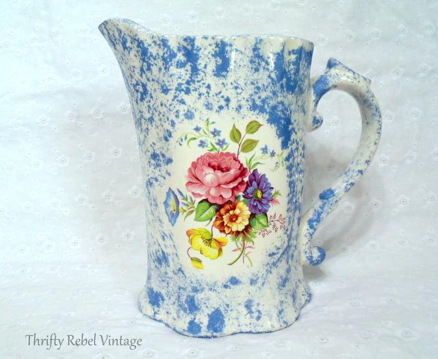 blue spatterware pitcher