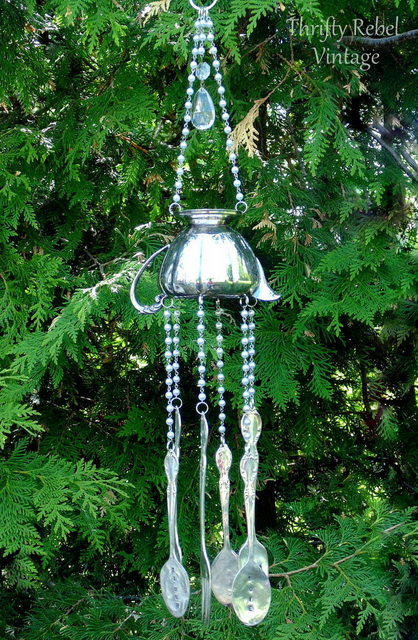 vintage silver creamer and silverware wind chime