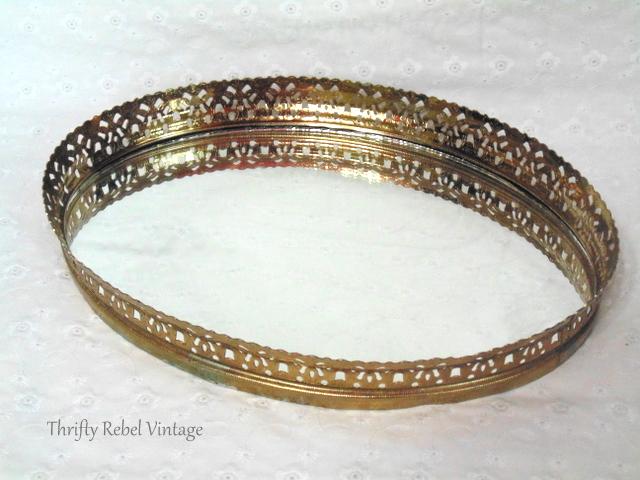 vintage gold vanity mirror tray