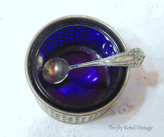 Vintage Silver and Cobalt Blue Glass Salt and Pepper Cruet set