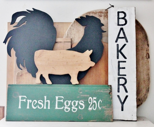 vintage-signs-with-rooster-and-pig at Adirondack Girl @ Heart