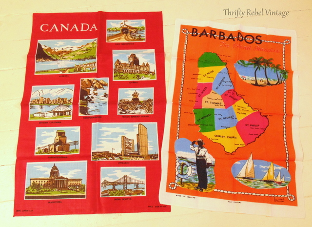 Canadian Provinces and Barbados tea towels