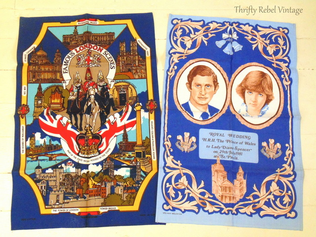 London Scenes and Charles and Diana tea towels