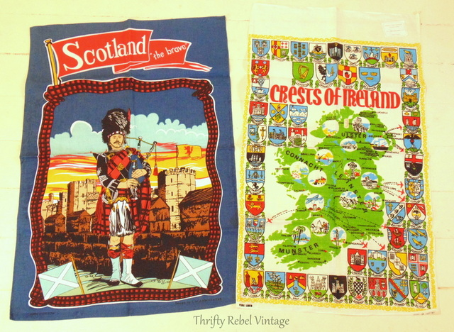 Scotland Bagpiper and Crests of Ireland tea towels
