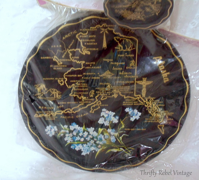 Vintage Alaska tray and coasters set