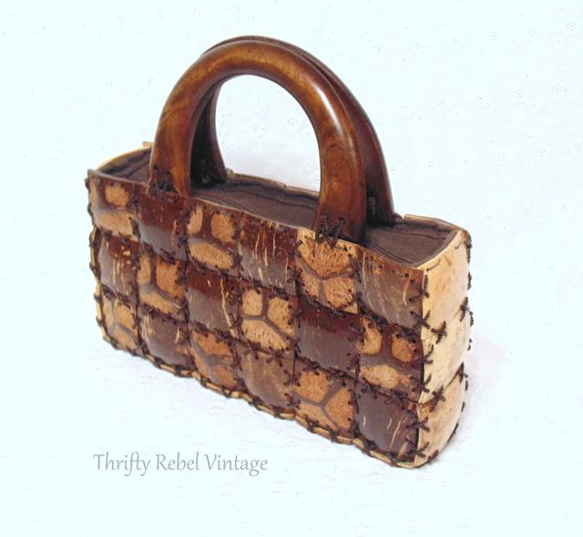 vintage handmade bamboo purse