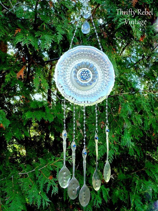 blue rhinestone brooch garden plate flower silverware wind chime