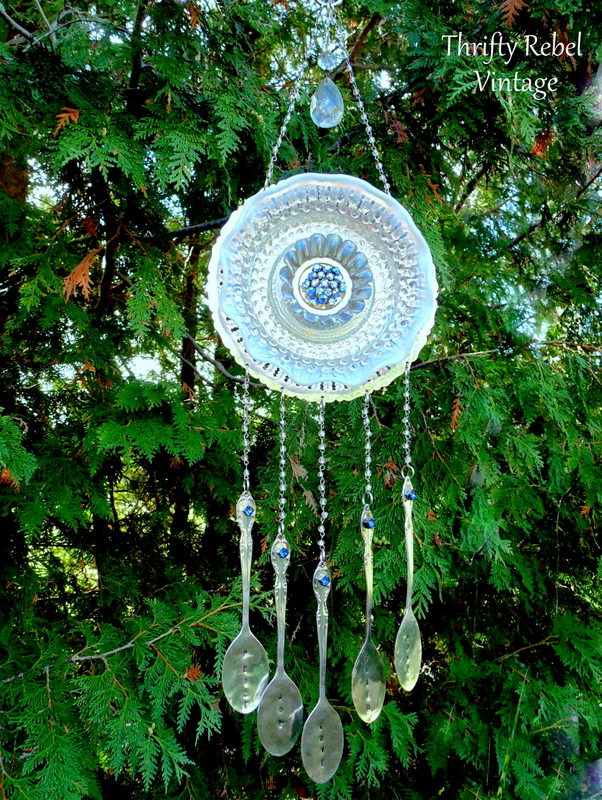 blue rhinestone brooch garden plate flower silverware wind chime