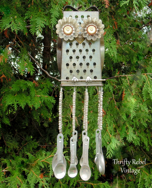 brown eyes grater owl wind chime with measuring spoons