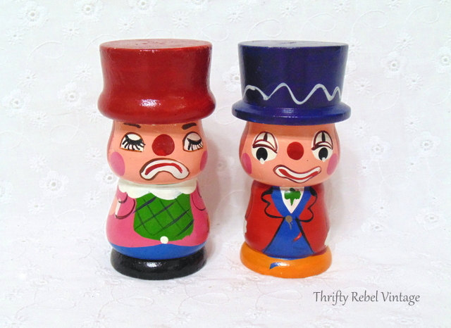 vintage hand painted clown salt and pepper set