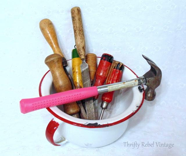 enamel bowl and vintage screwdrivers