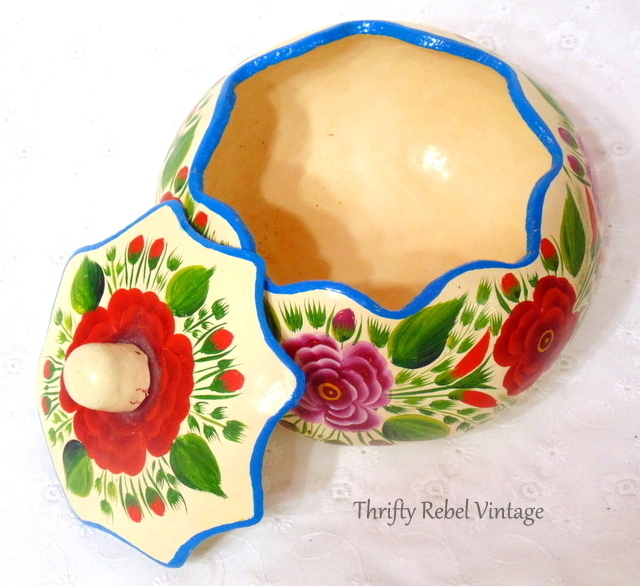 floral hand painted gourd container with lid