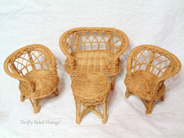 mini dollhouse wicker furniture set