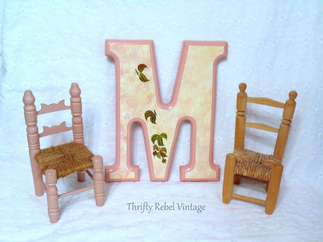 mini wooden chairs and ceramic letter M