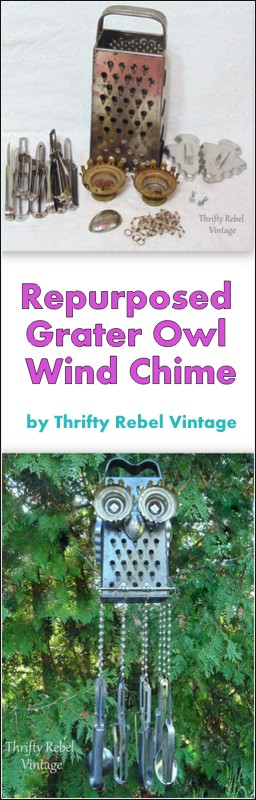 Repurposed owl grater wind chime